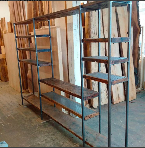 Custom Media Unit and Shelving with Reclaimed Lumber and Steel
