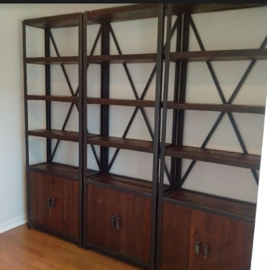 Shelving Units with Steel and Reclaimed Lumber with Storage Enclosure