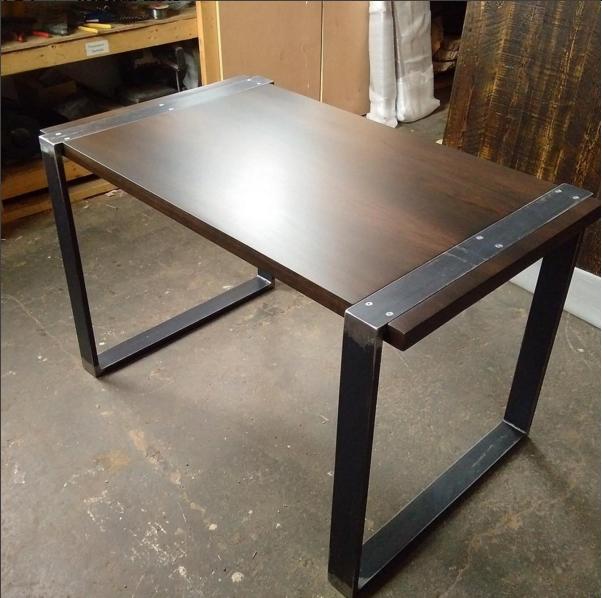 Custom Desk with Walnut Top and Wraparound Steel Base