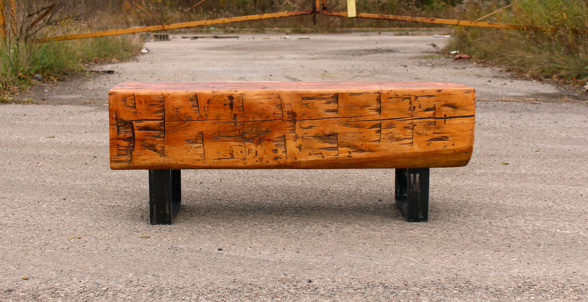 Reclaimed Barn Beam Top with Square Steel Base