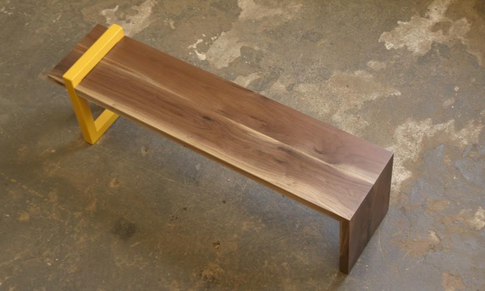Live Edge Waterfall Walnut Bench with Wraparound Orange Steel