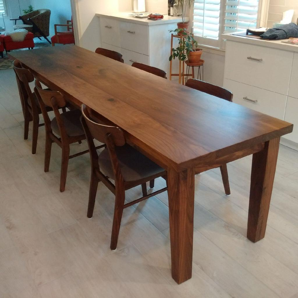 Straight Edge Walnut Top with Traditional 4 Post Base