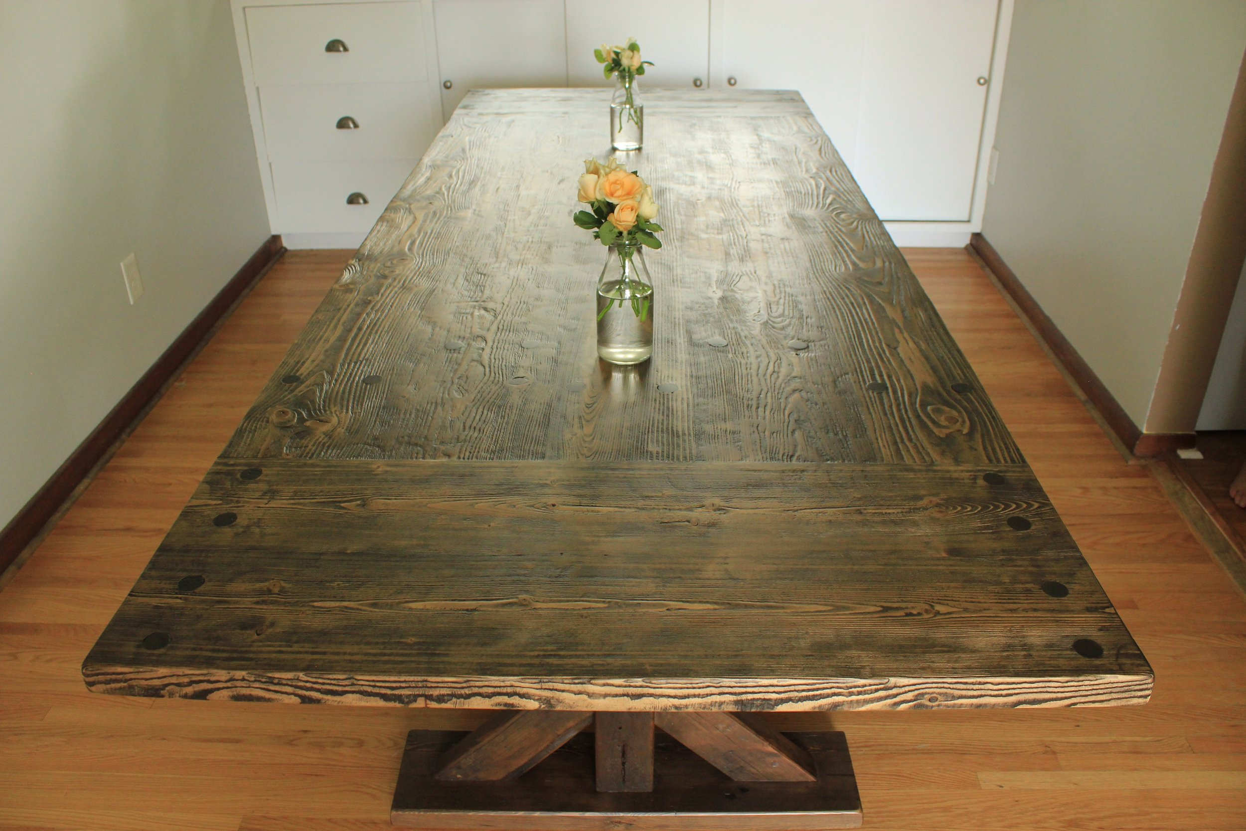 Reclaimed Wood Top with Matching X Post Base