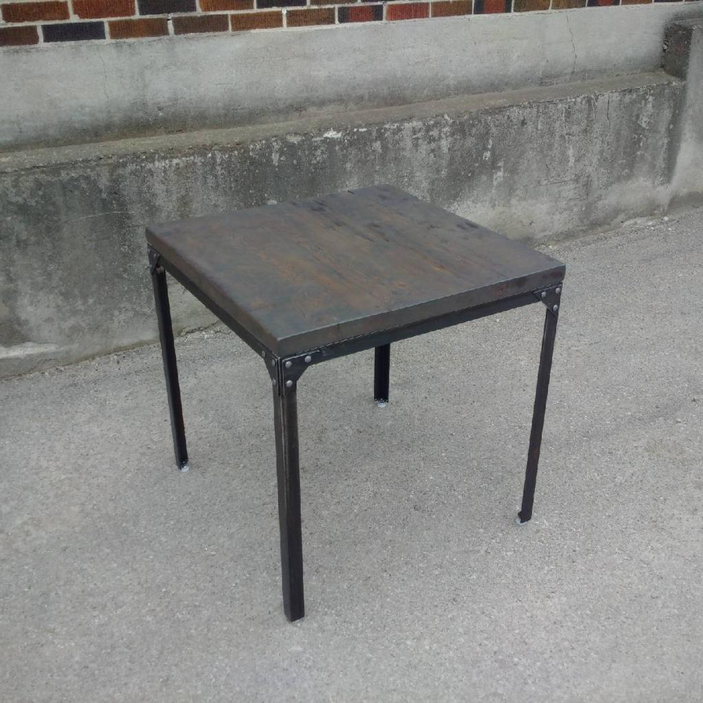 Reclaimed Side Table with Steel Base
