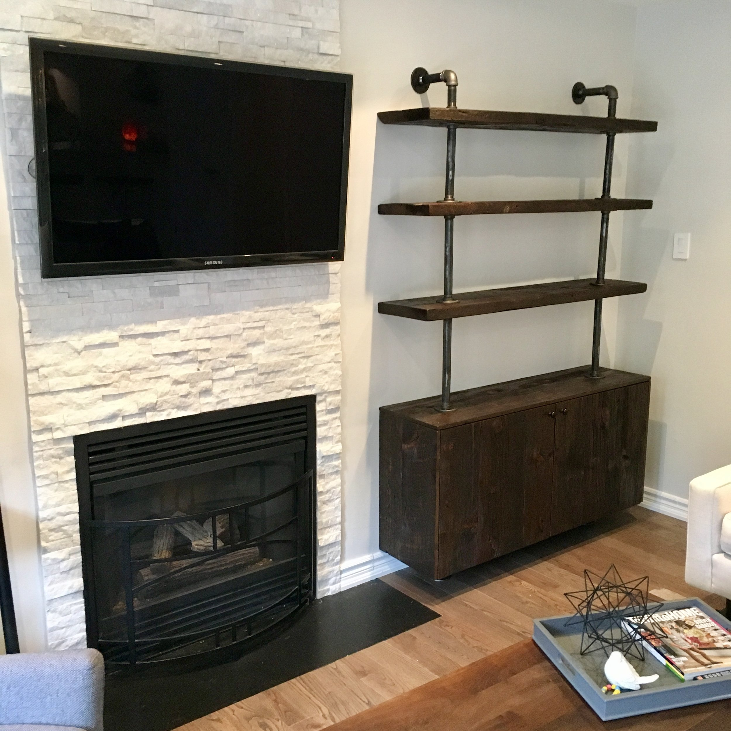 Shelving Unit with Reclaimed Wood and Enclosed Storage