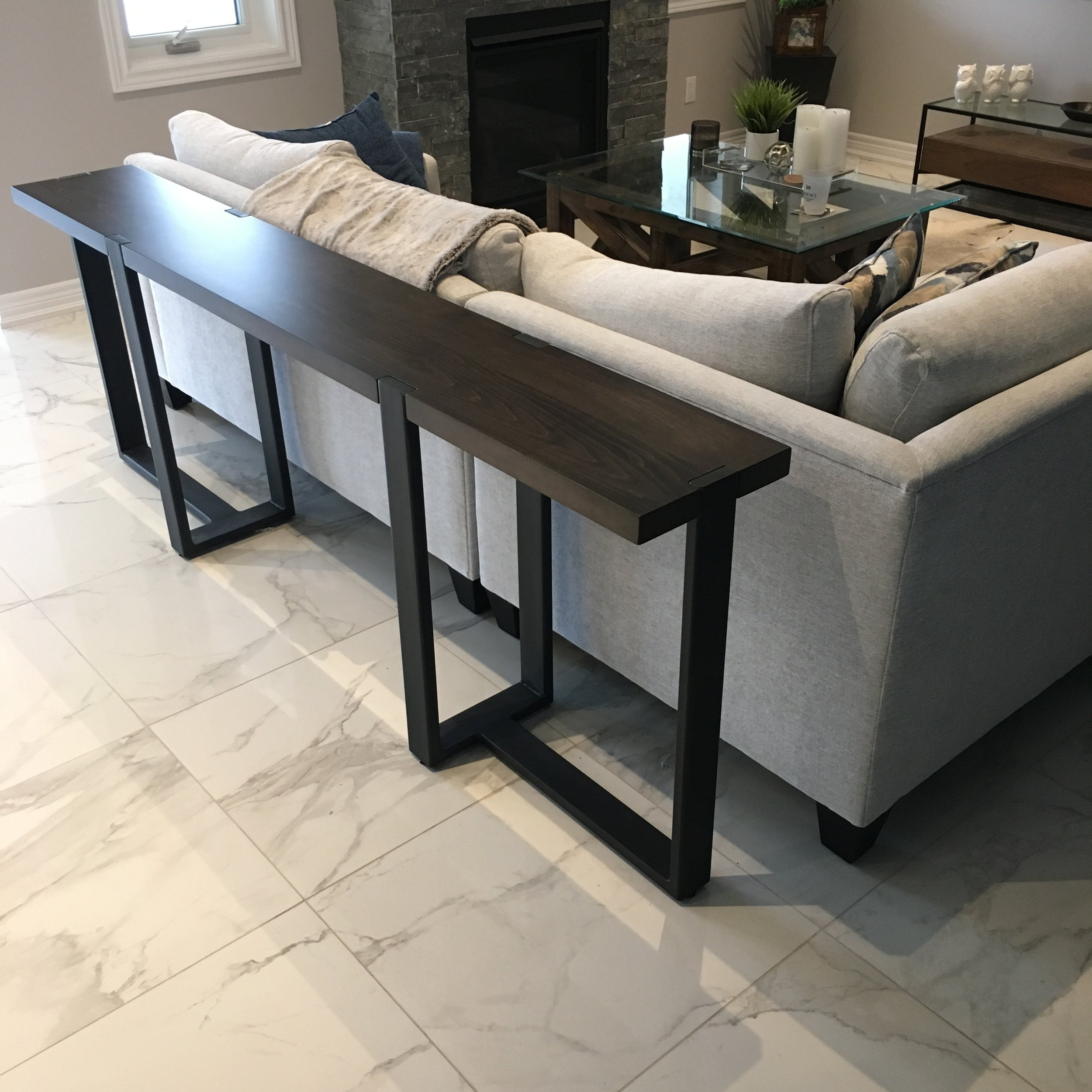Console with Geometric Steel Base