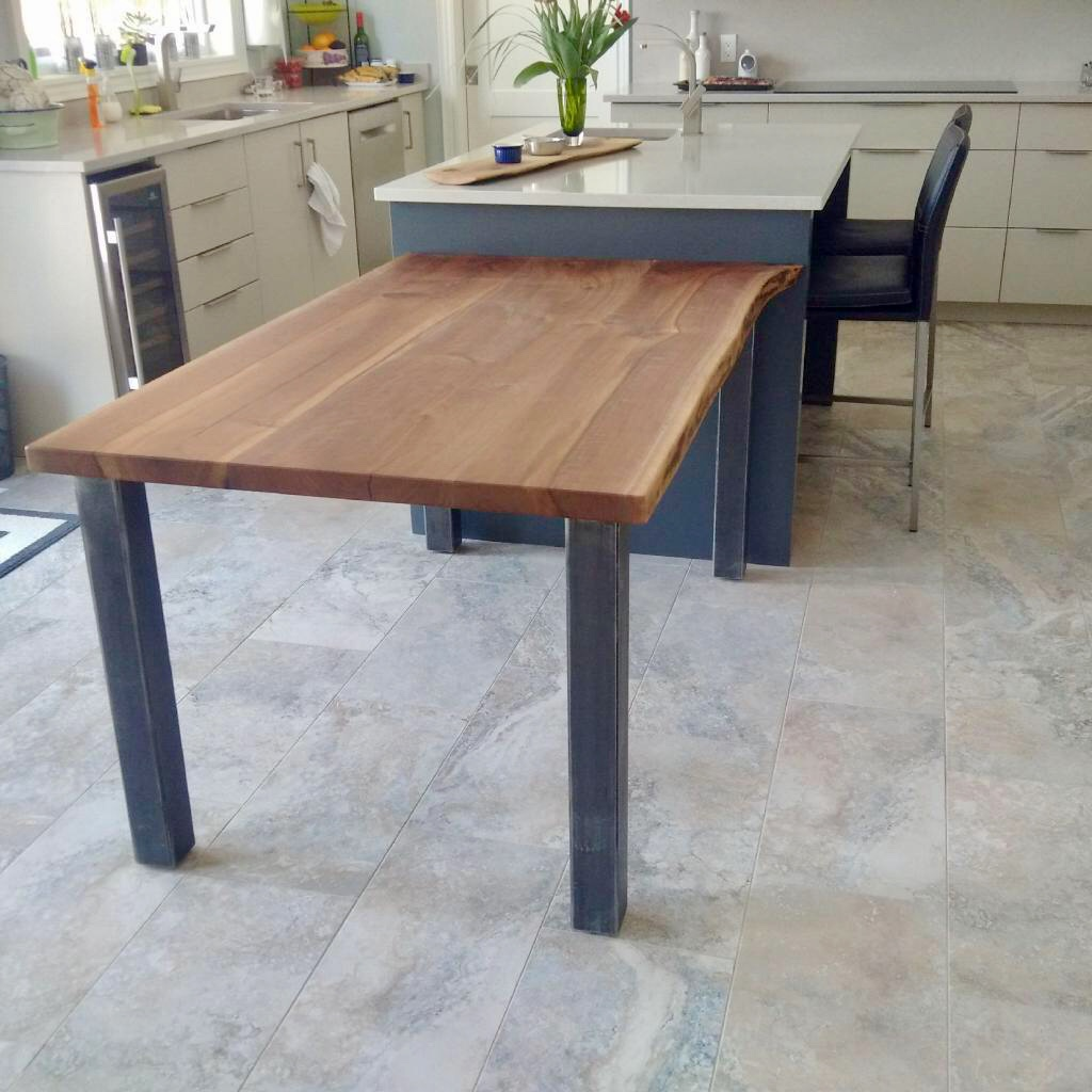 Walnut top with four post steel base