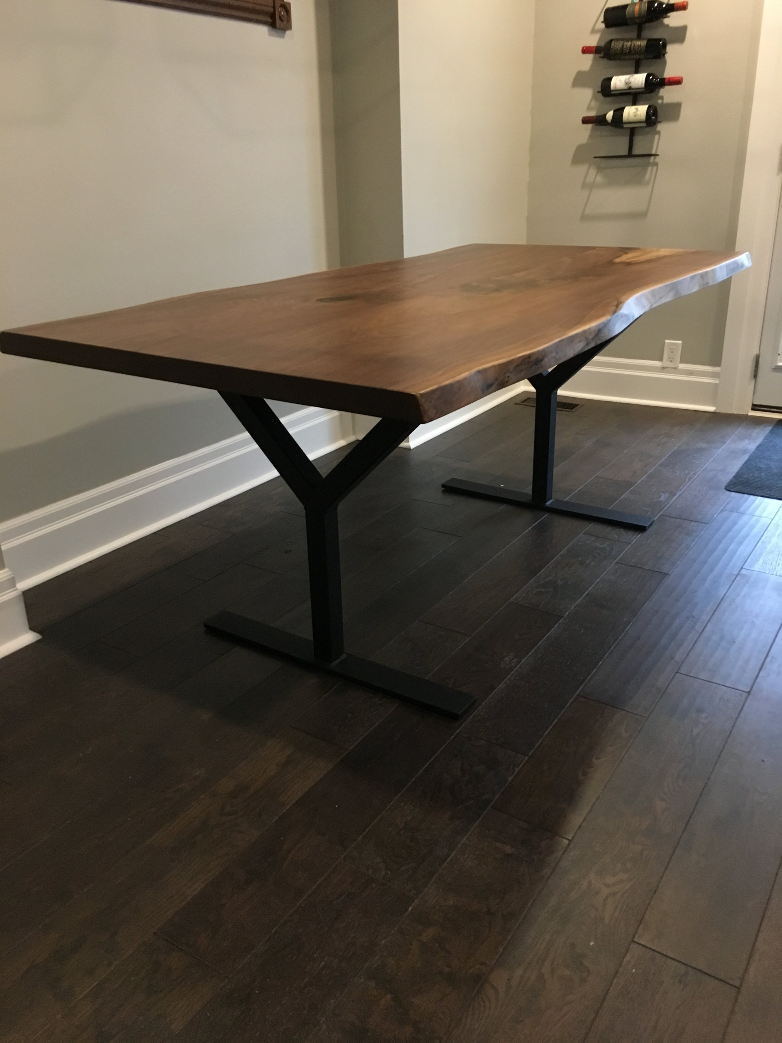 Live Edge Walnut Top with Y Base