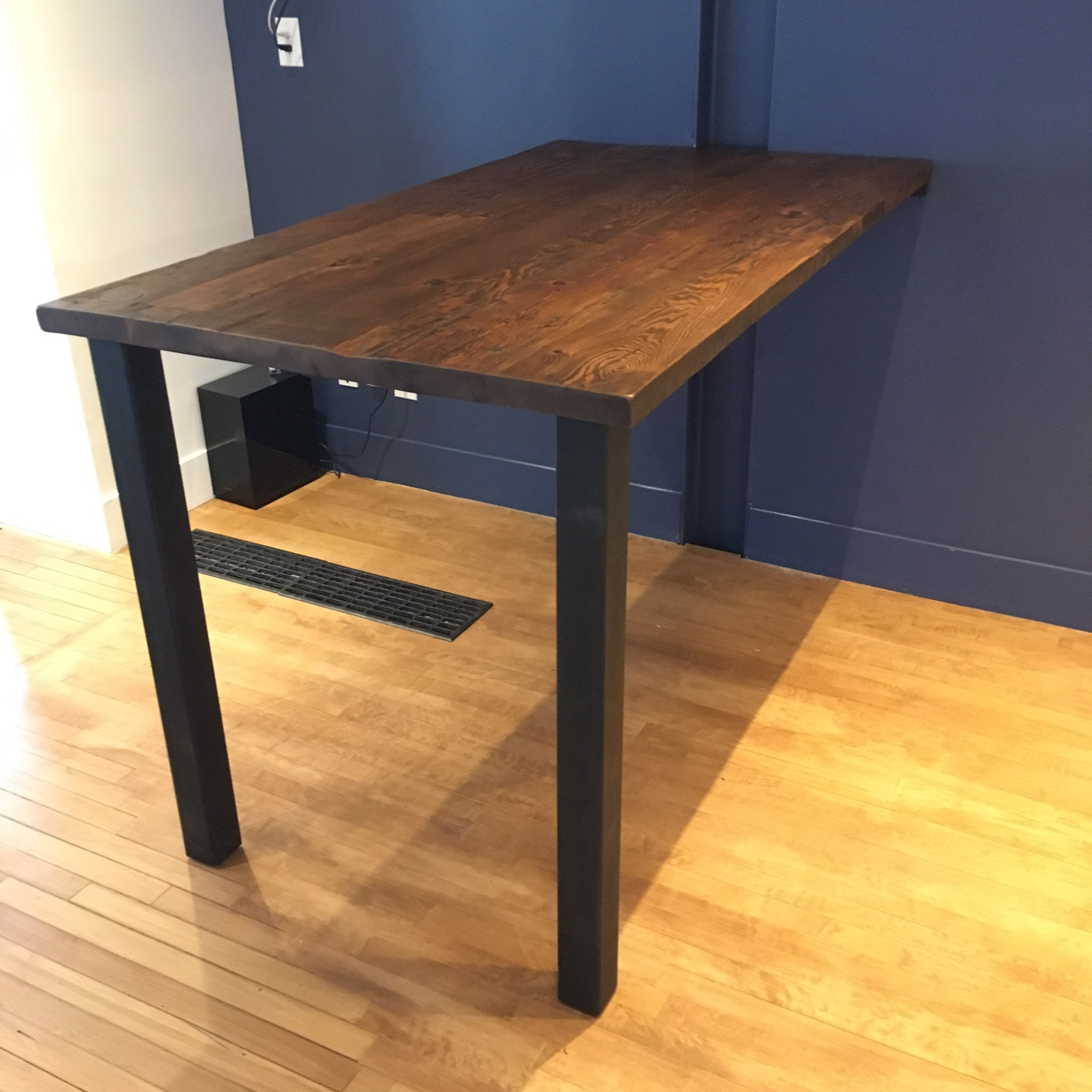Reclaimed Wood Desk with Two Post Base