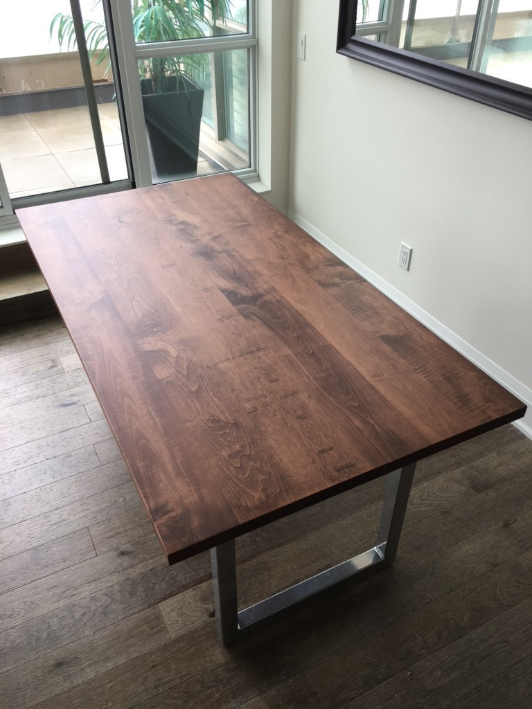 Stained Maple Top with Chrome Powdercoat Base