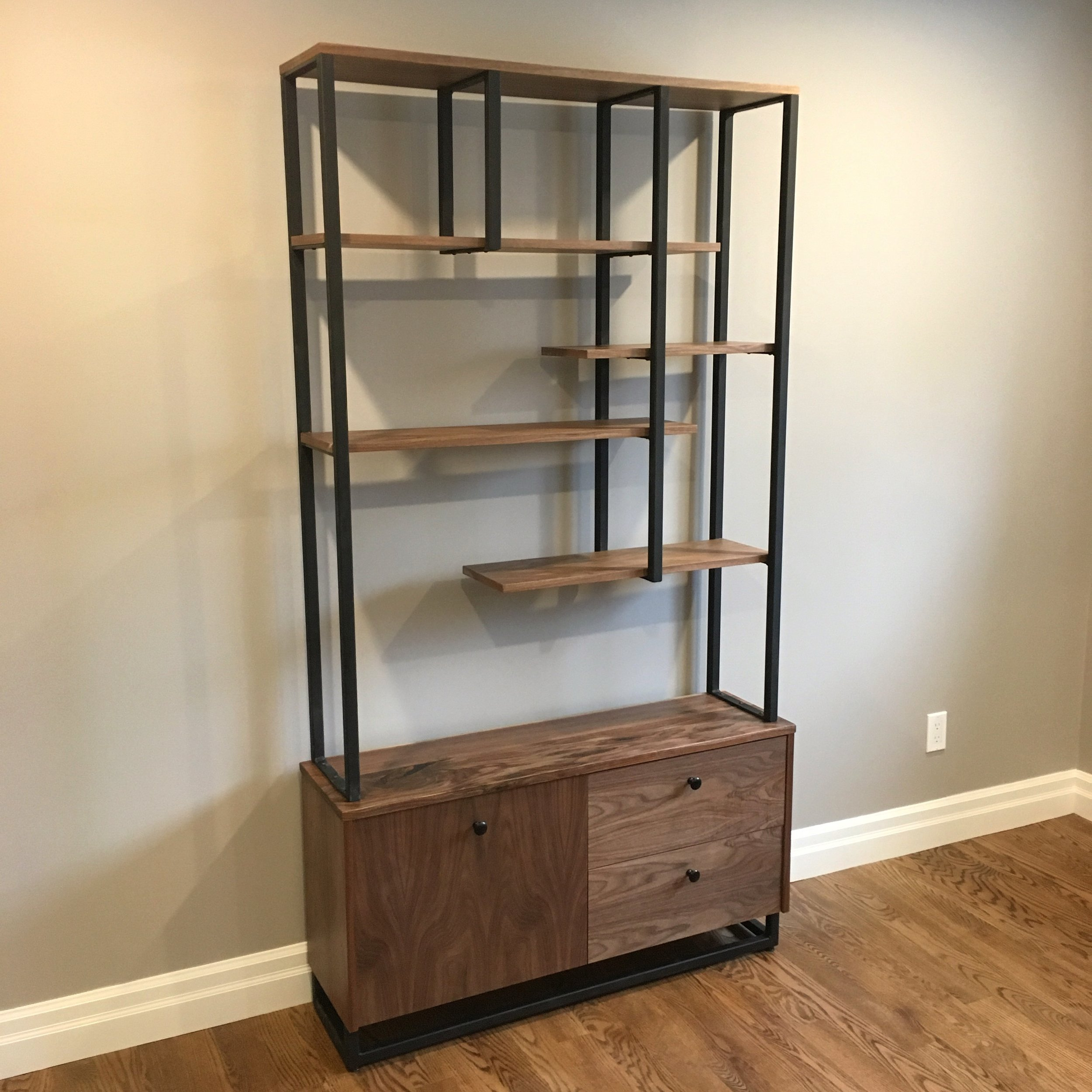 Walnut Shelving with Asymmetrical Steel
