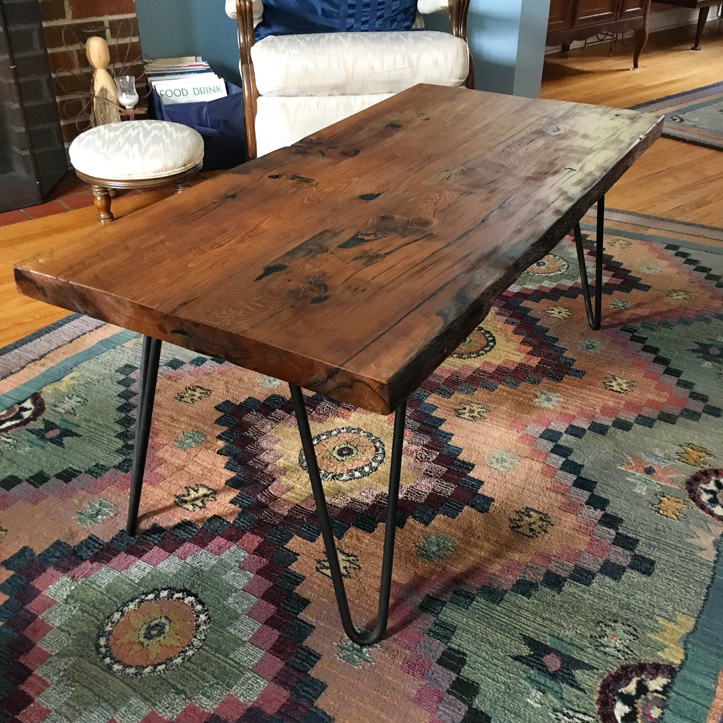 Reclaimed Wood Top with Hairpin Legs