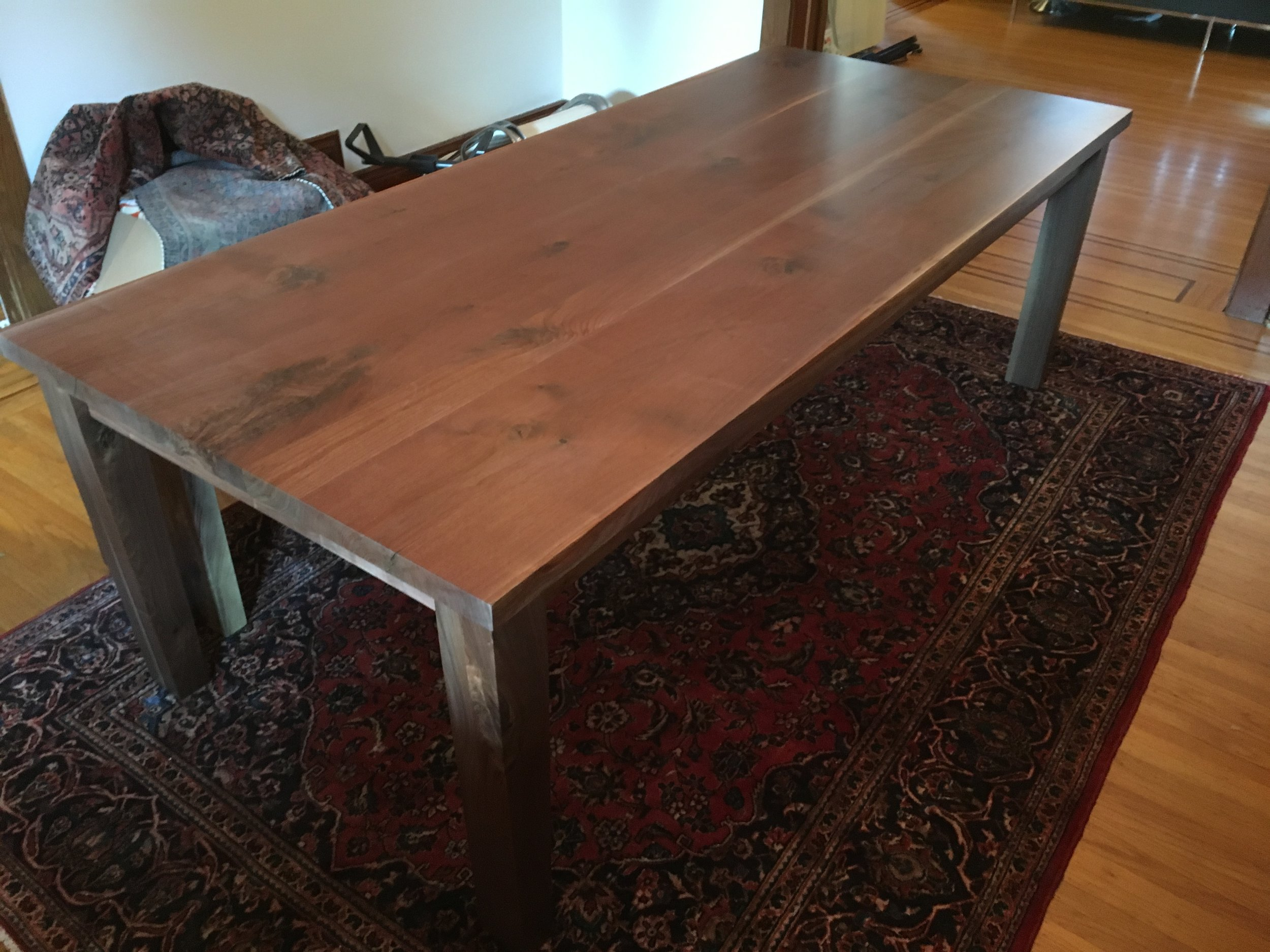 Straight Edge Walnut Top with Matching Four Post Base