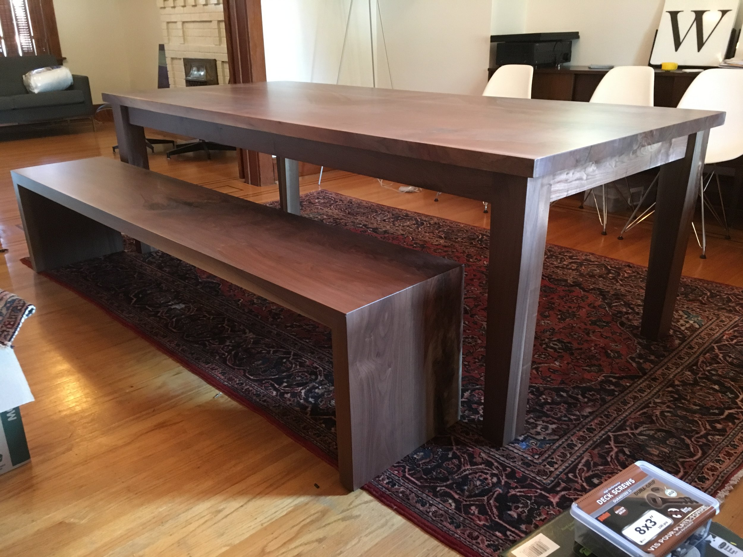 Walnut Dining Table with Walnut Bench