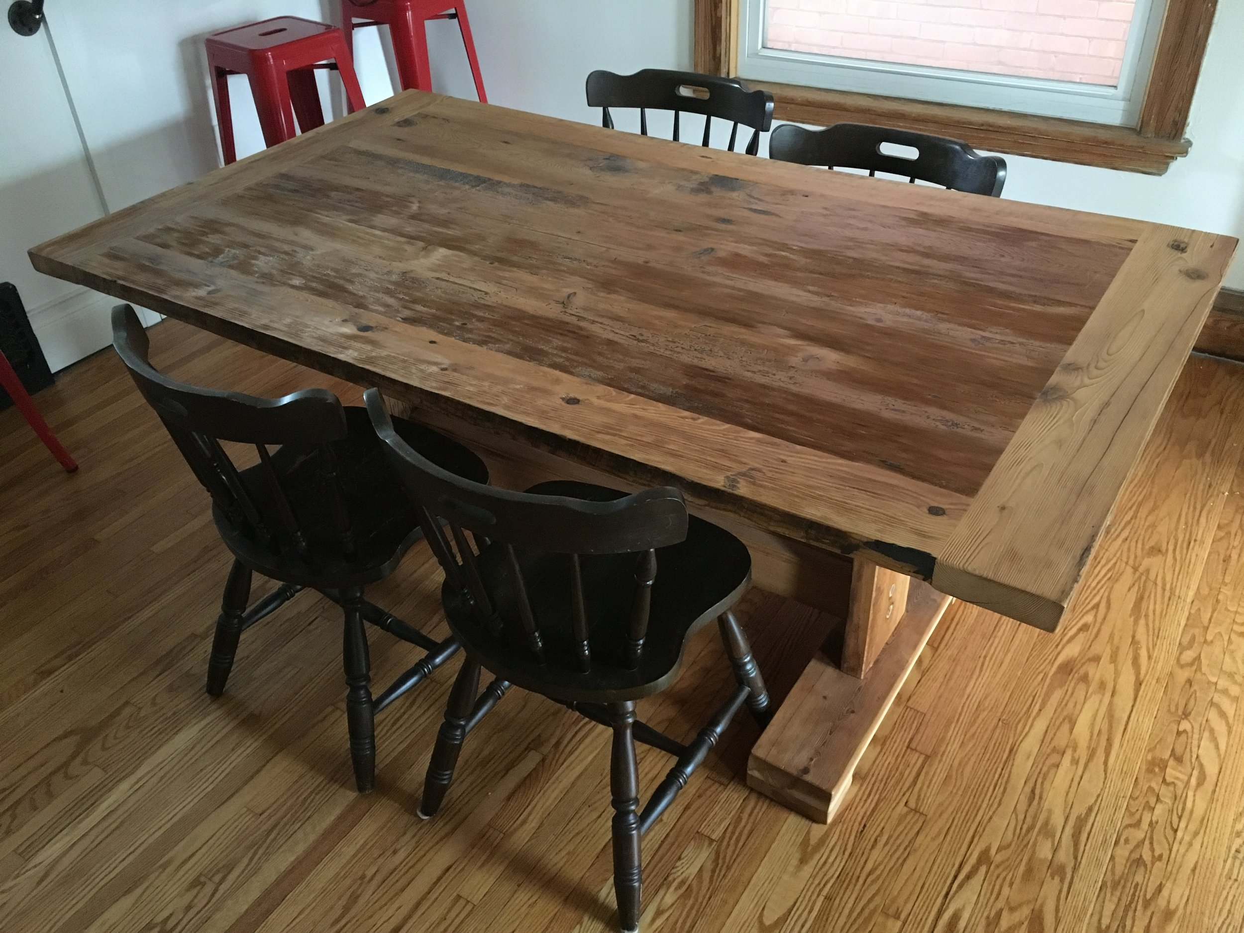 Reclaimed Wood Top with Flat Pedestal Base in Matching Wood