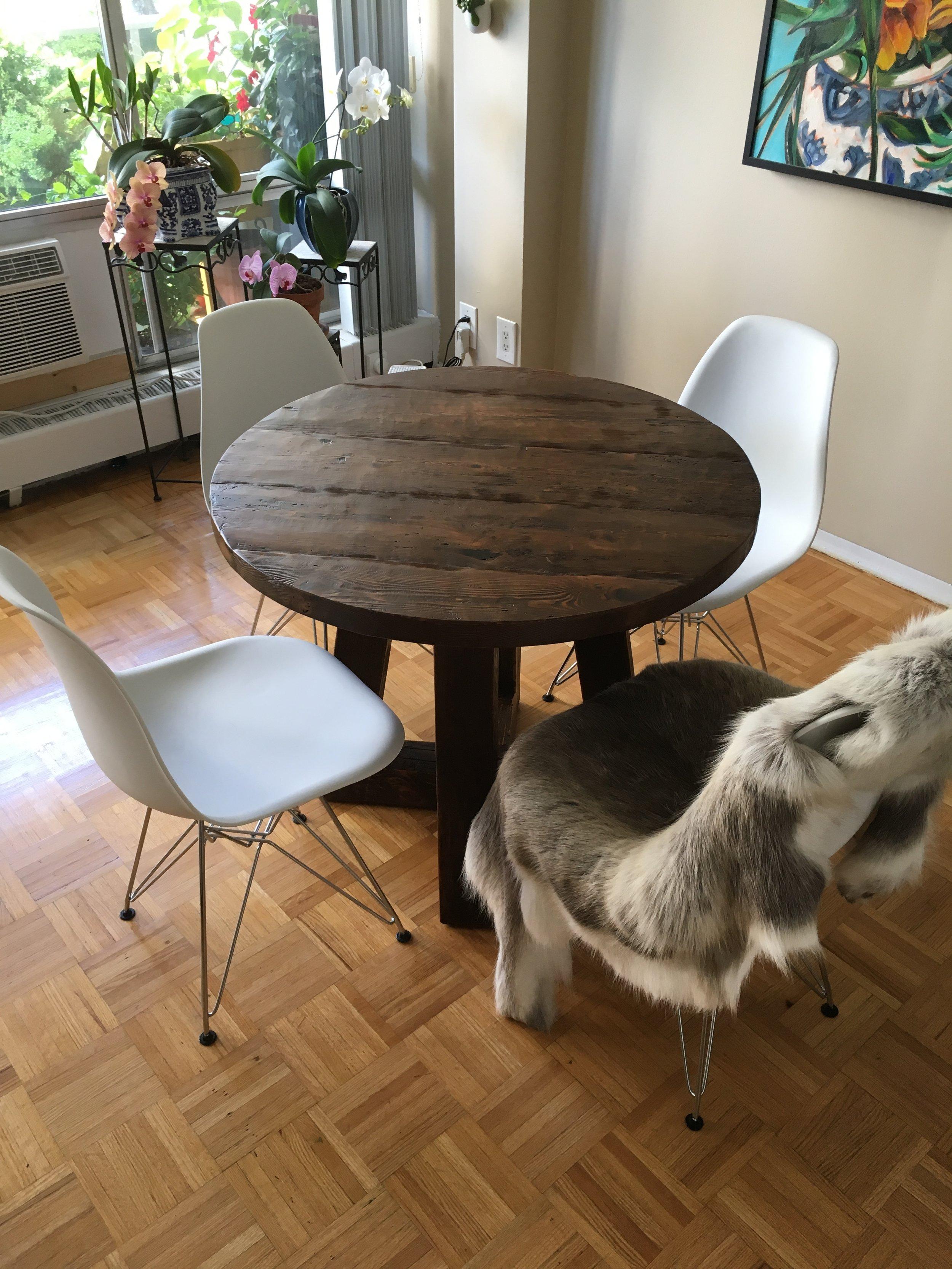 Reclaimed Wood Top with Custom Wood Base