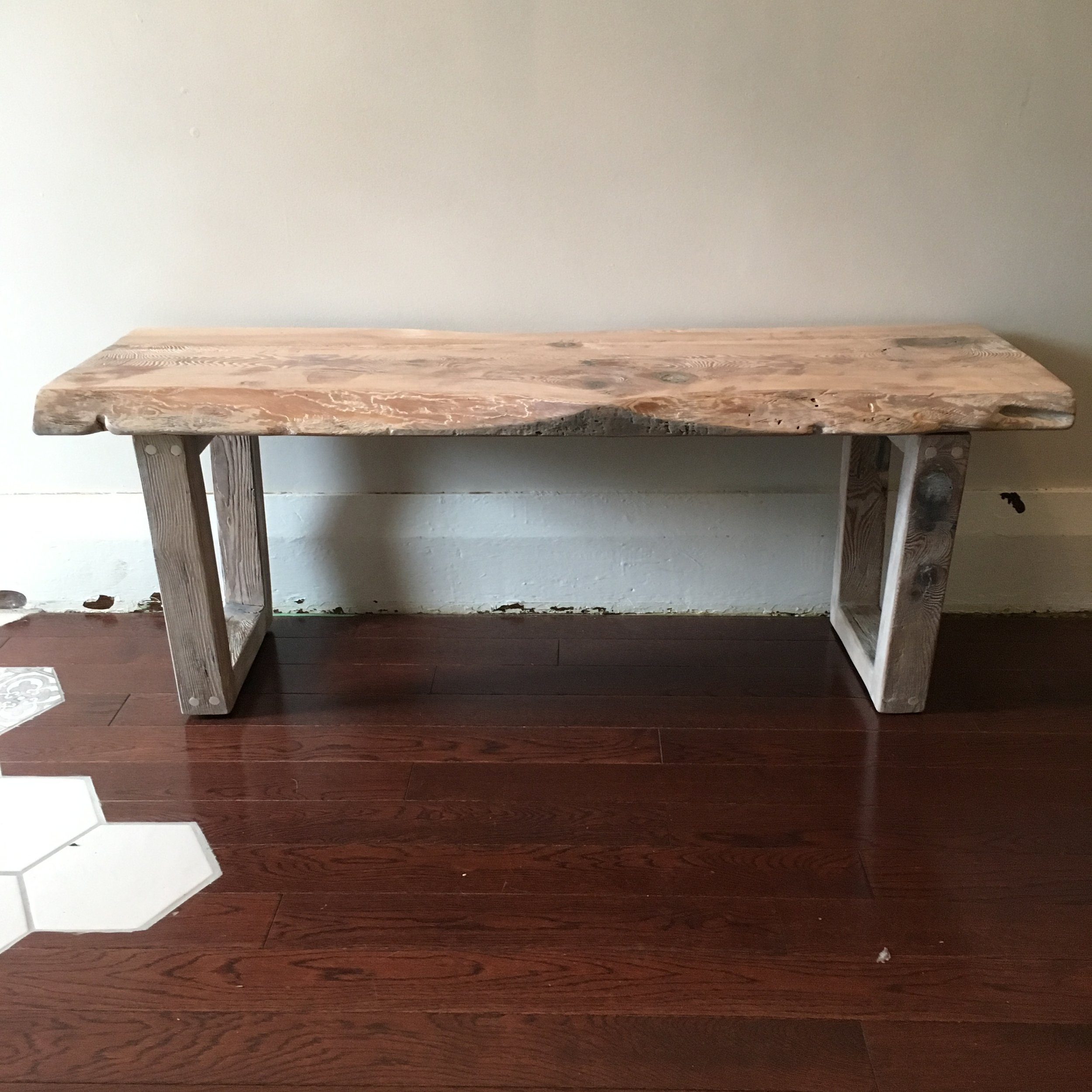 Reclaimed Wood Bench with White Stain