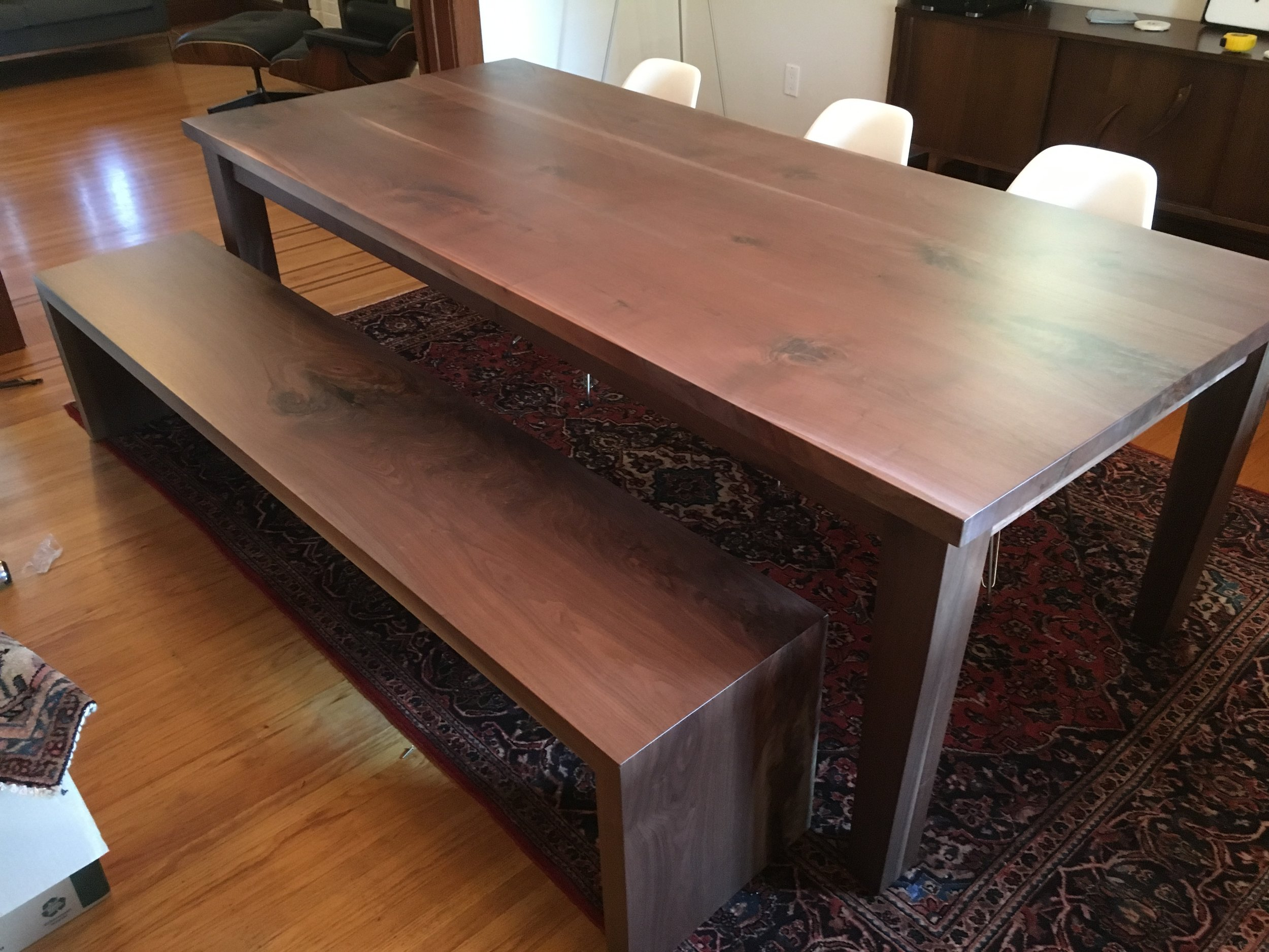 Walnut Dining Table with Matching Bench