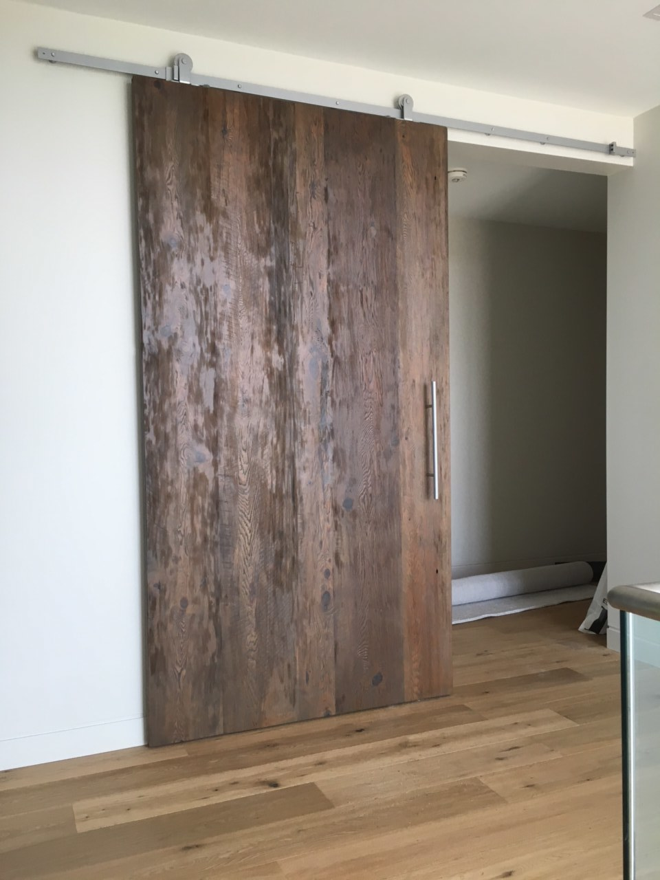 Reclaimed Wood Sliding Door with Chrome Hardware