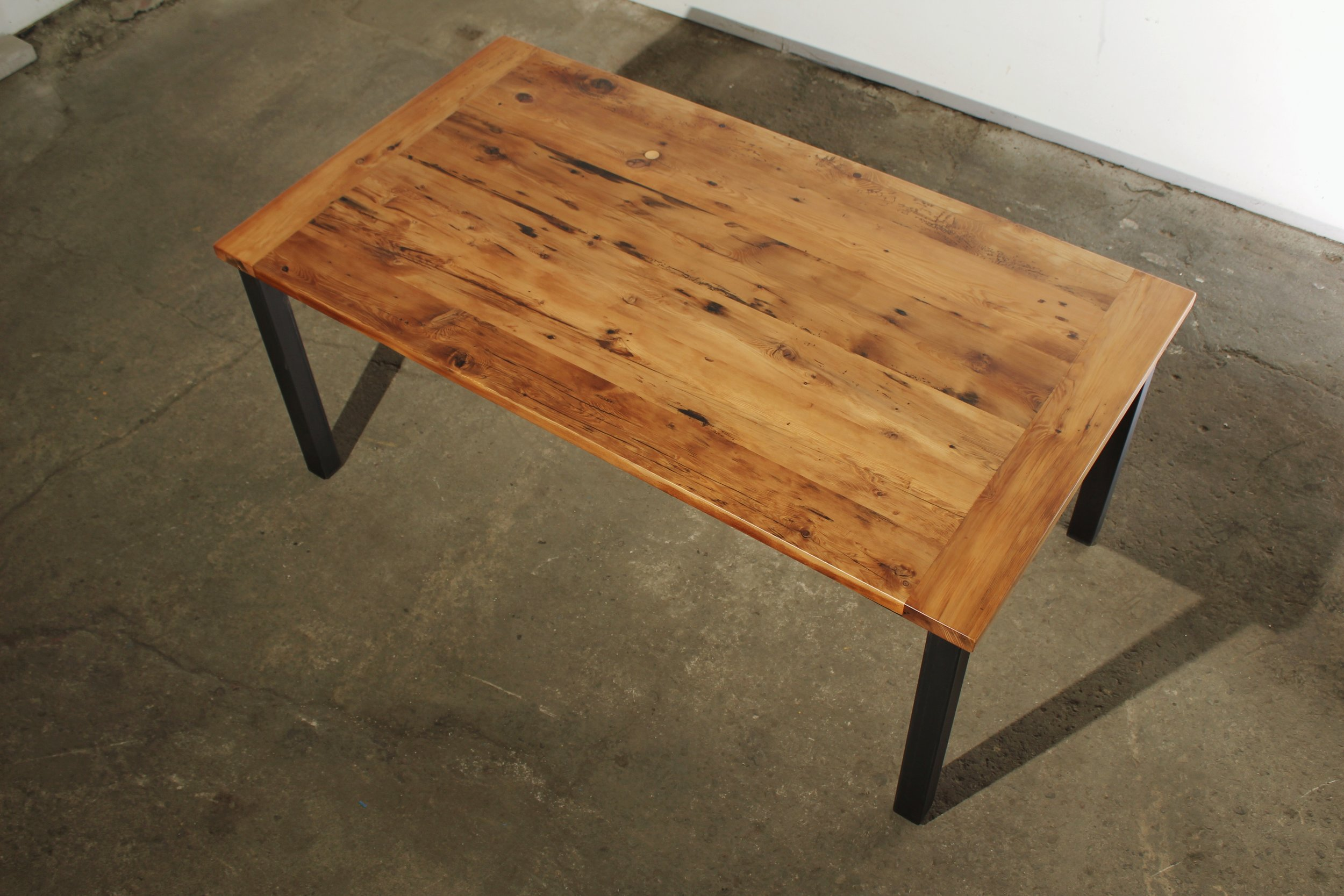 Reclaimed Wood Breadboard Top with Four Post Steel Base