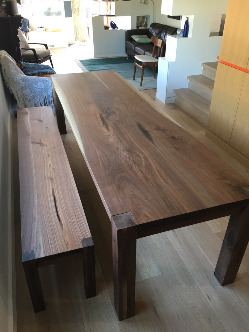 Straight Edge Walnut Table with Matching Bench