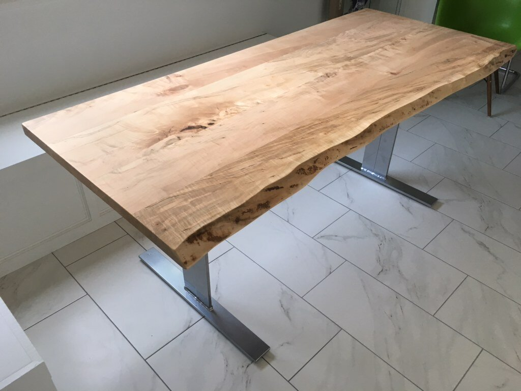 Silver Maple Dining Table with Flat Pedestal Base