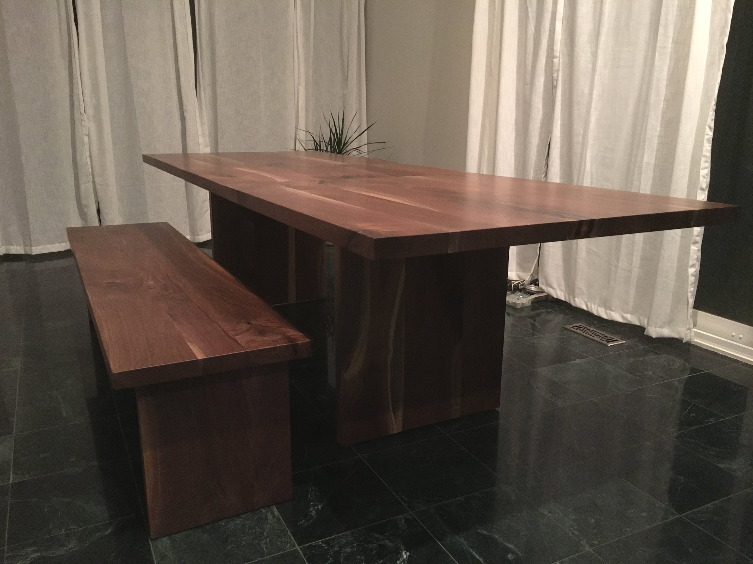 Custom Live Edge Dining Table and Matching Bench