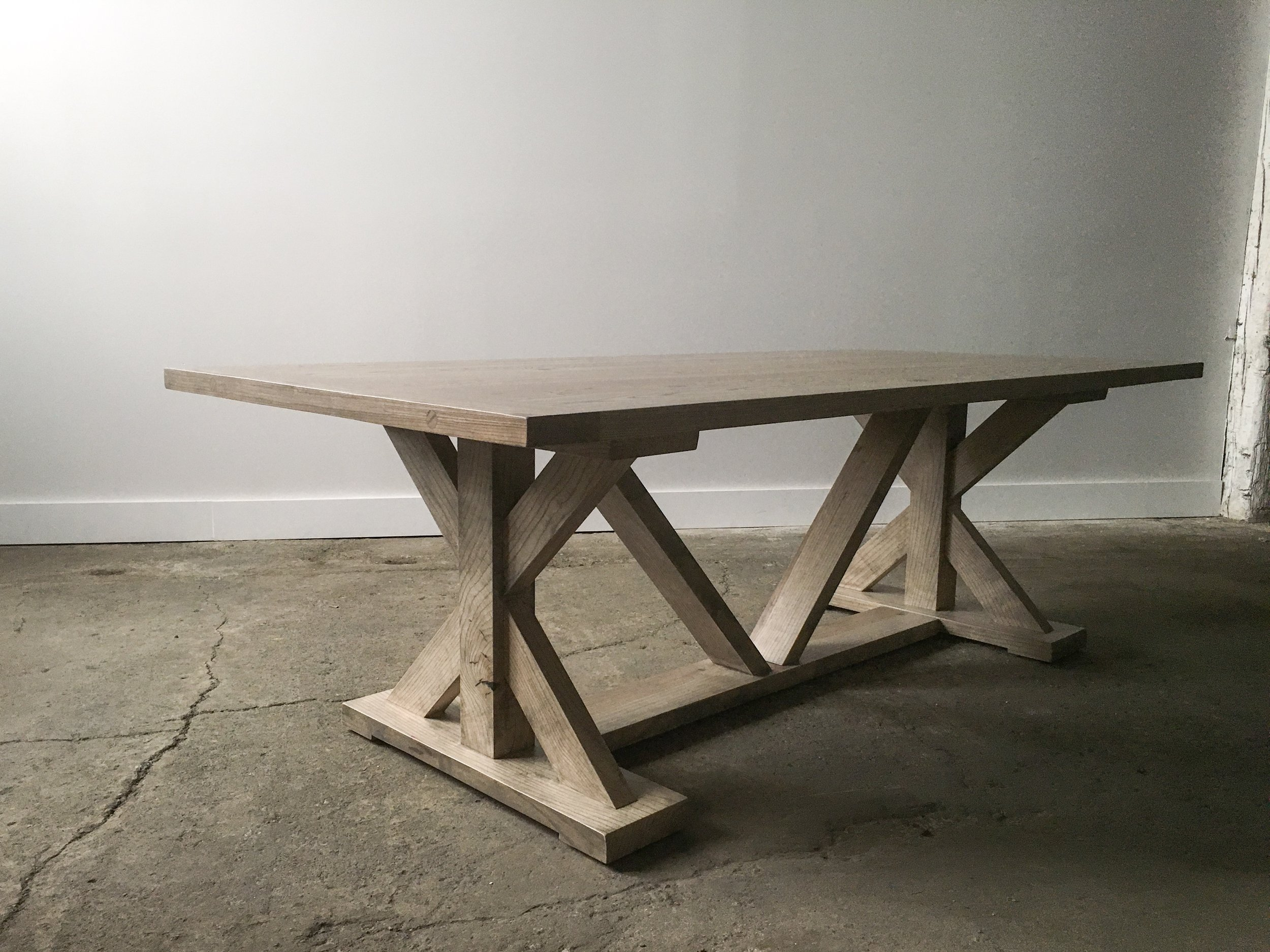 Ash Dining Table with Custom Wood Base