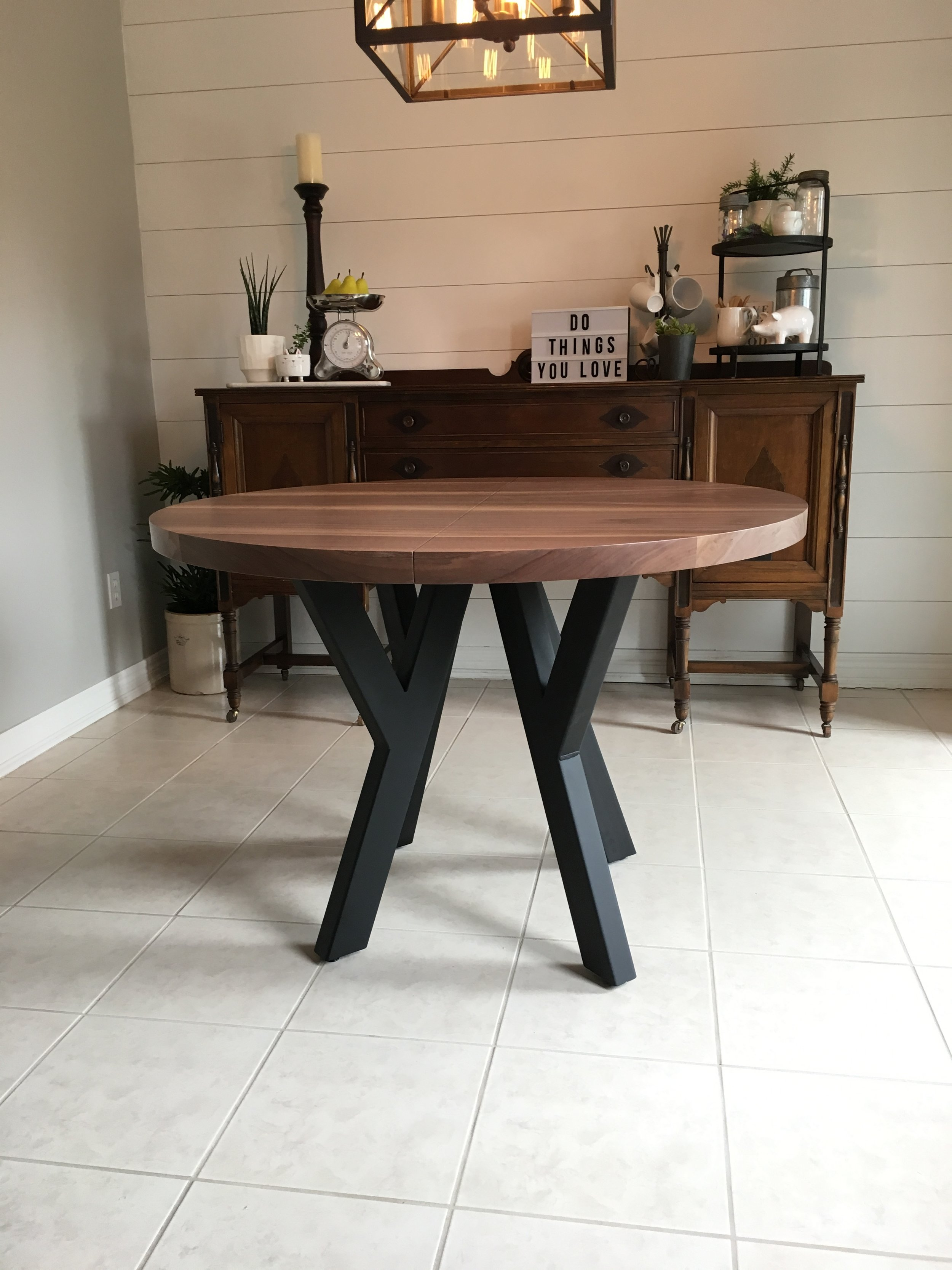 Round Walnut Extension Table