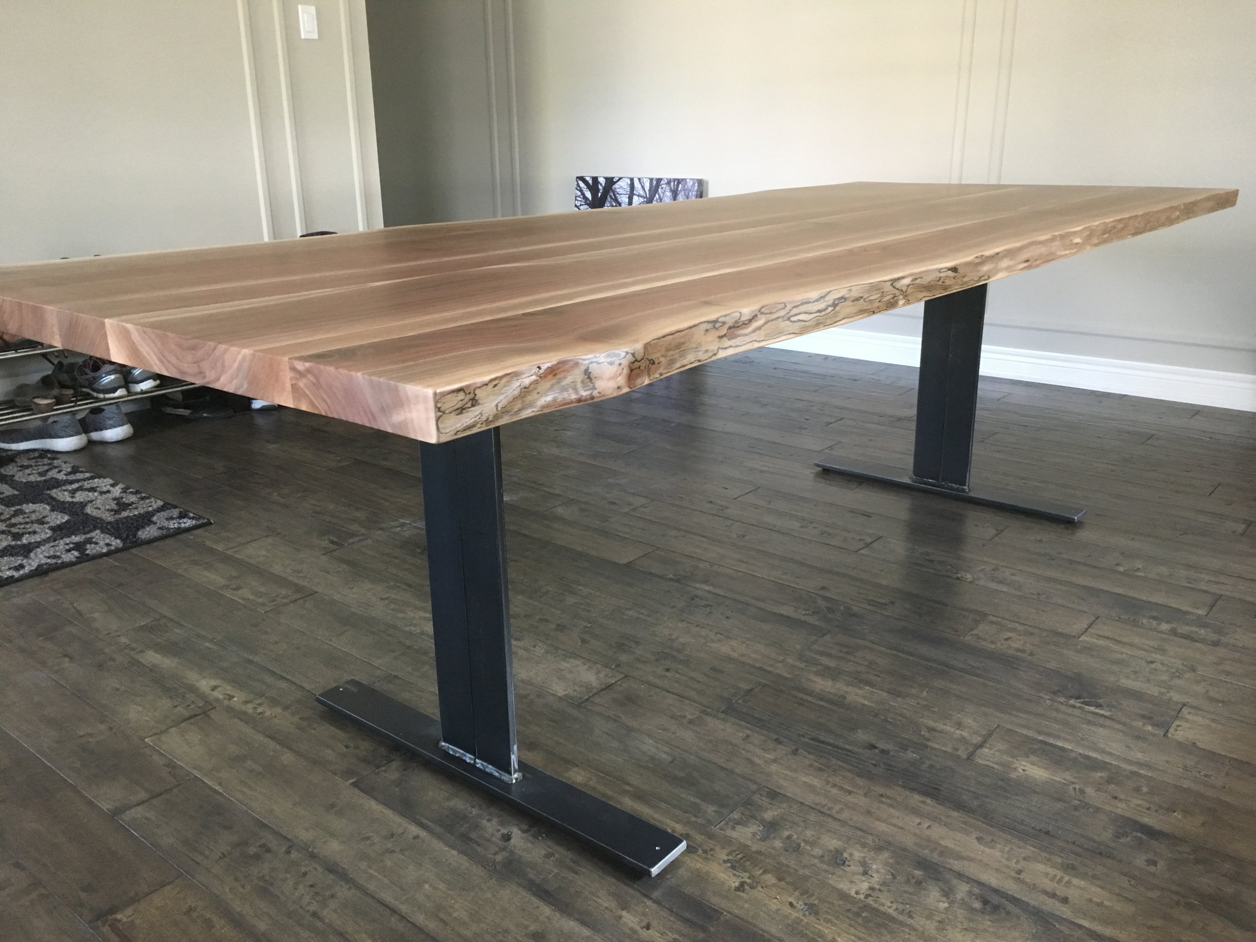 Live Edge Walnut Dining Table with Flat Pedestal Base