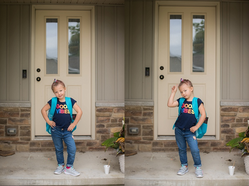 The obligatory front porch, first day, photos! She totally posed herself. She also picked out her outfit, perfectly coordinated with rainbow socks, and rainbow hair-bow.