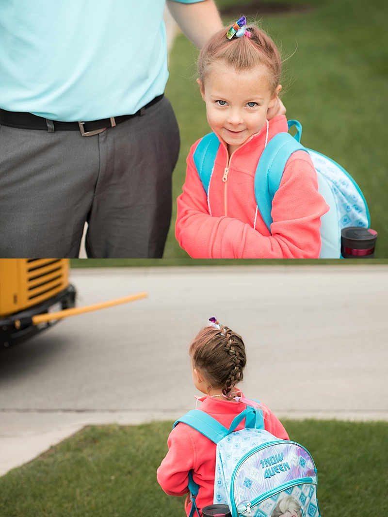 Miss Ainsley was excited to wait for the bus.