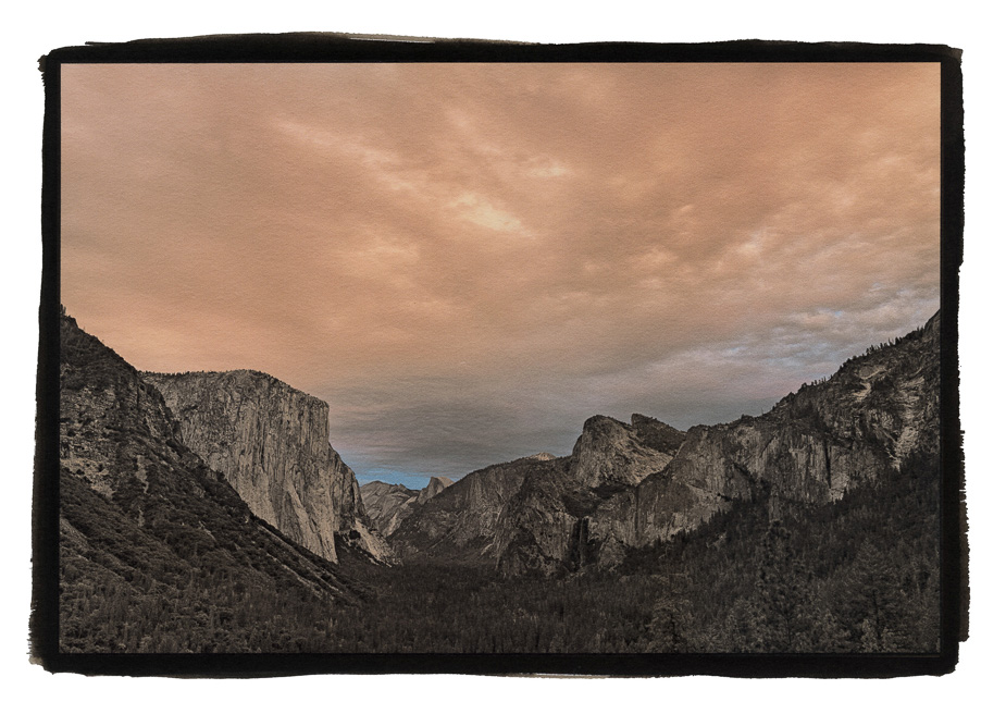 "Tunnel View, Yosemite, Fall 2017, Palladium over Pigment Print, 20""x30"""
