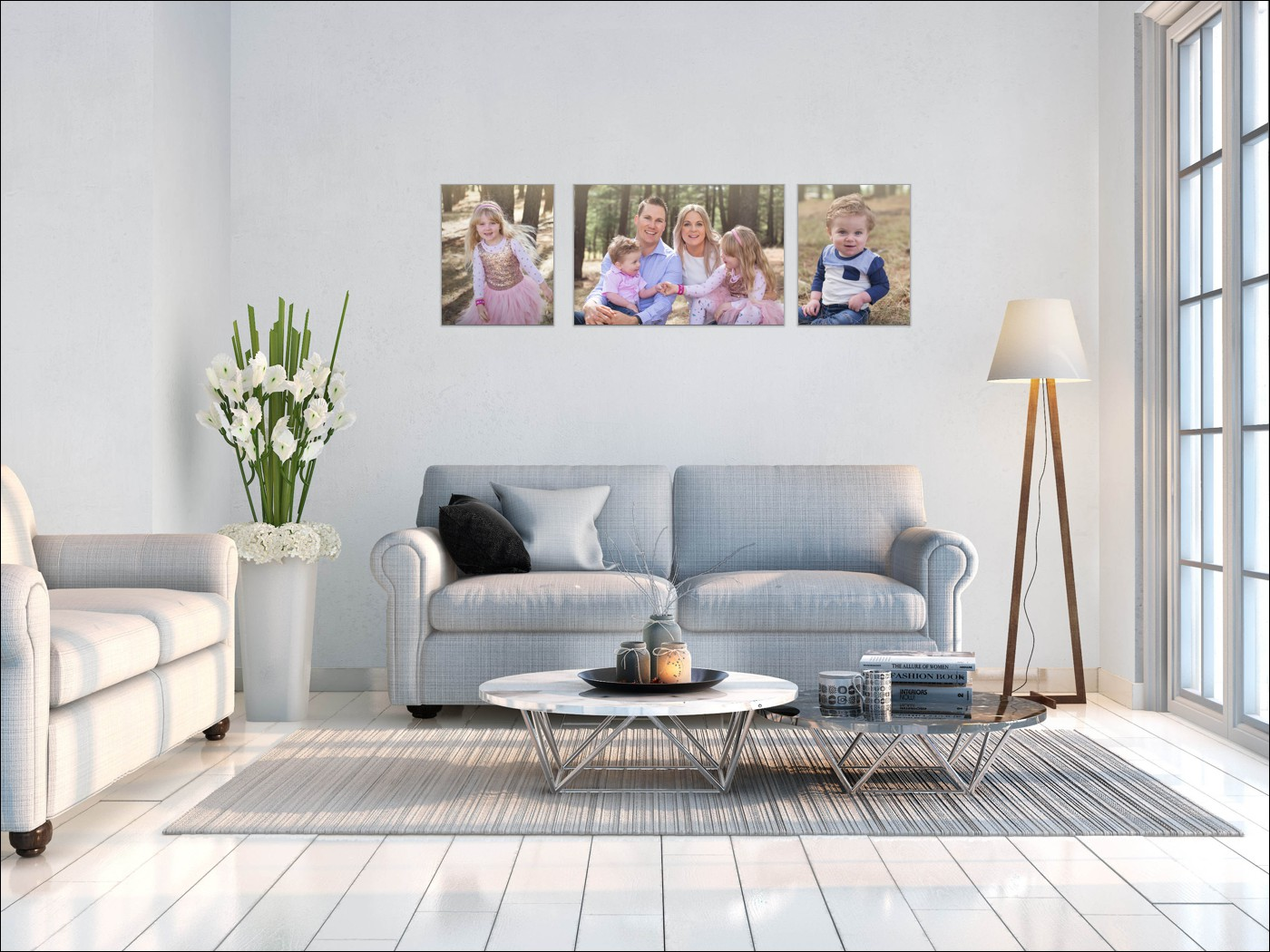 """WaLL ART Collections - Wall art collections come in all sizes for your walls. This one displayed on this wall is one 20x30"""" & two 16x20"""" which can showcase a couple of different images. This wall art collection displayed is $1550 (saving of $440)."""