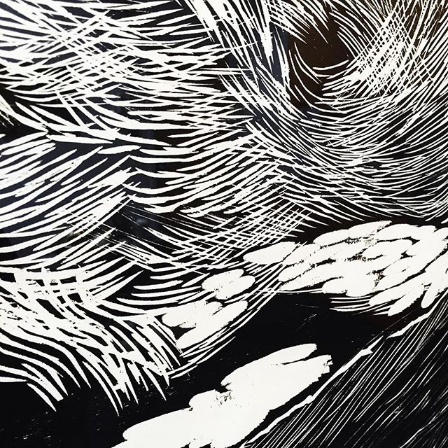 Detail of woodcut, McClure's Pass Diptych, from artist @ssataman. #woodcut #art #laboroflove #detailshot