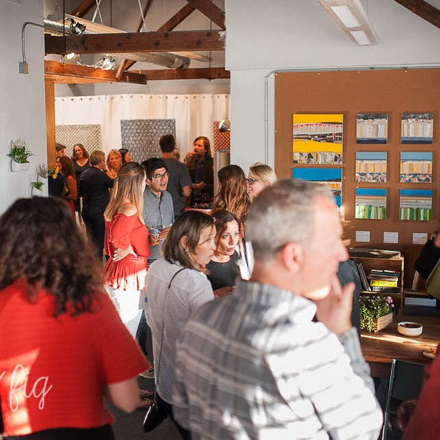 A teaser photo from the photographer of the Bluebird Art Show and @reddotstudio opening. Featuring works from @hollysavas @reneedjohnson @ealishwilson and @ssataman. Fun (and busy!) evening showcasing the best of art and architecture from the San Francisco Bay Area. #party #studio #art #architecture #bluebirdartshow