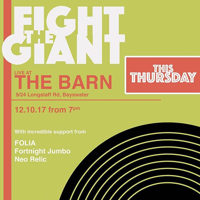 We're live this Thursday with some of Melbourne's finest local bands and artists. Tickets on the door 🤛