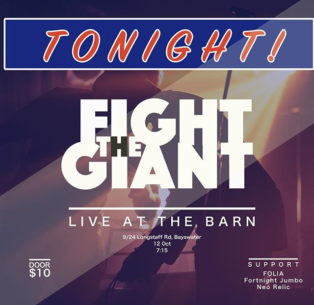 We're live TONIGHT at The Barn in Bayswater. Tickets on the door and support from 3 of Melbourne's finest bands and artists. 🍻🕺
