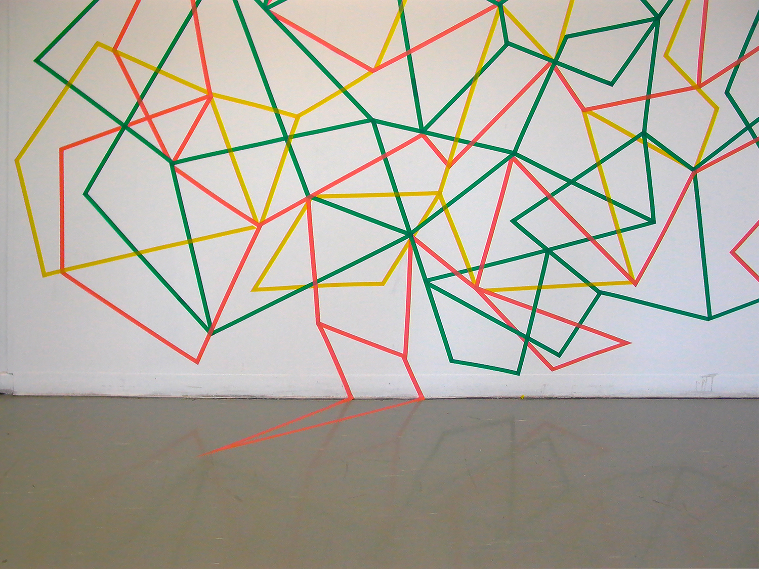 Undoing,  2009. Detail.  Electrical tape. 6m x 2.5m.