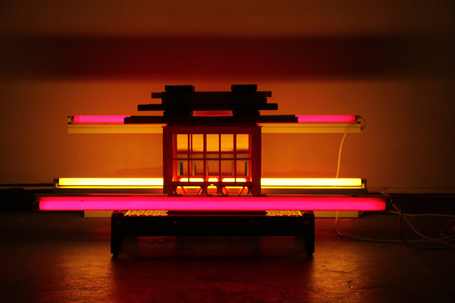 tokyo nights , 2017.  Materials: Fluorescent tubes, wood, plastic crates. Dimensions: variable. Project Space, Boyd Temporary, Melbourne.