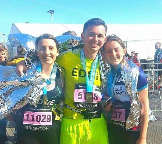 Rose (Left) and Edd (Centre) having completed the Brighton Marathon in April 2015
