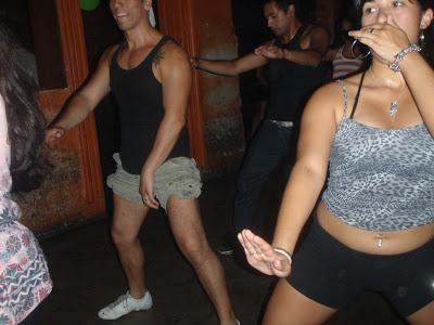 Axé dancing in the big (sauna) floor upstairs - note the  guy  in short shorts :D
