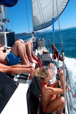 Eating, suntanning, jumping around, taking pictures.. enjoying life on the sunny sea!