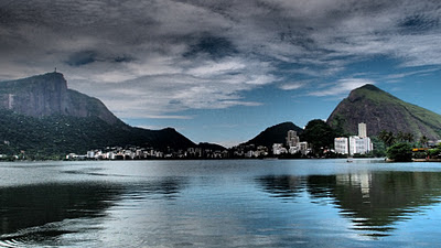 Lake behind Ipanema beach - Christ on the left