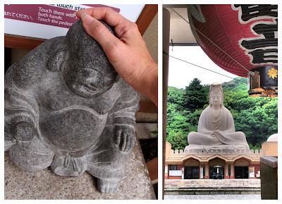 A small buddha and a massive buddha