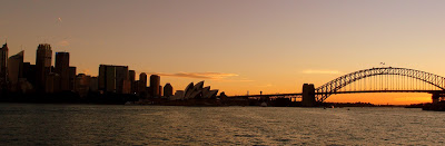 Returning to the city on the ferry at sundown - perfect timing