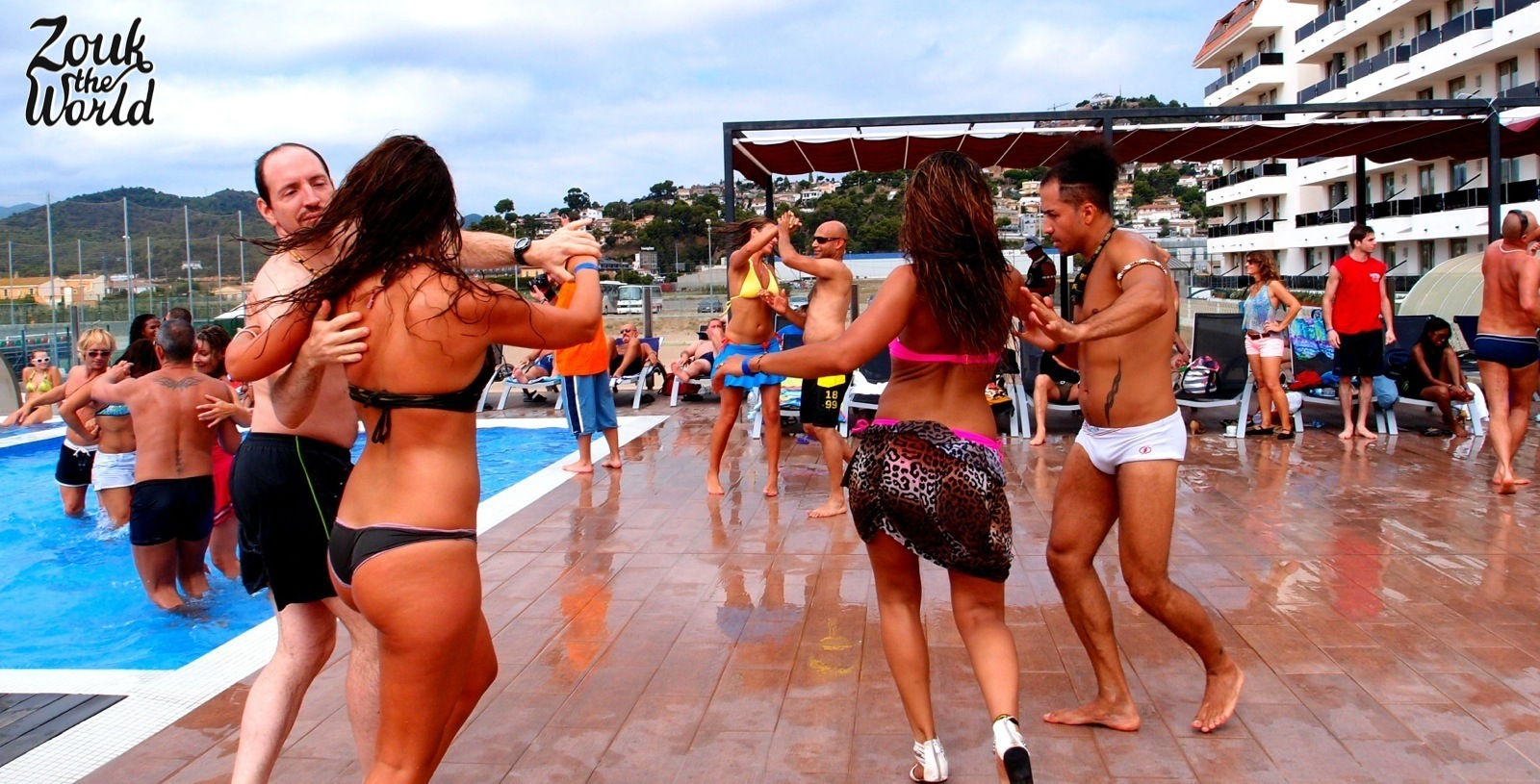 Pool party at Zouk-Lambada beach festival in santa susana