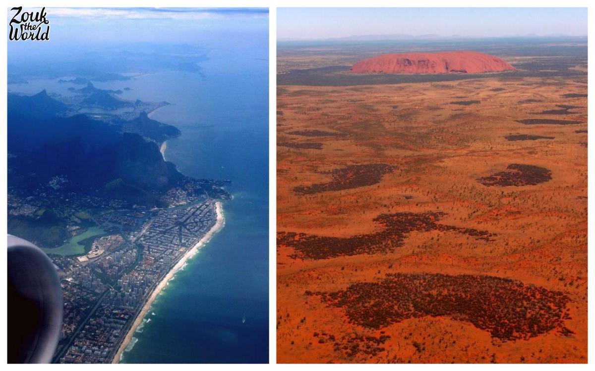 Enjoying the in-flight view over Rio de Janeiro and Uluru