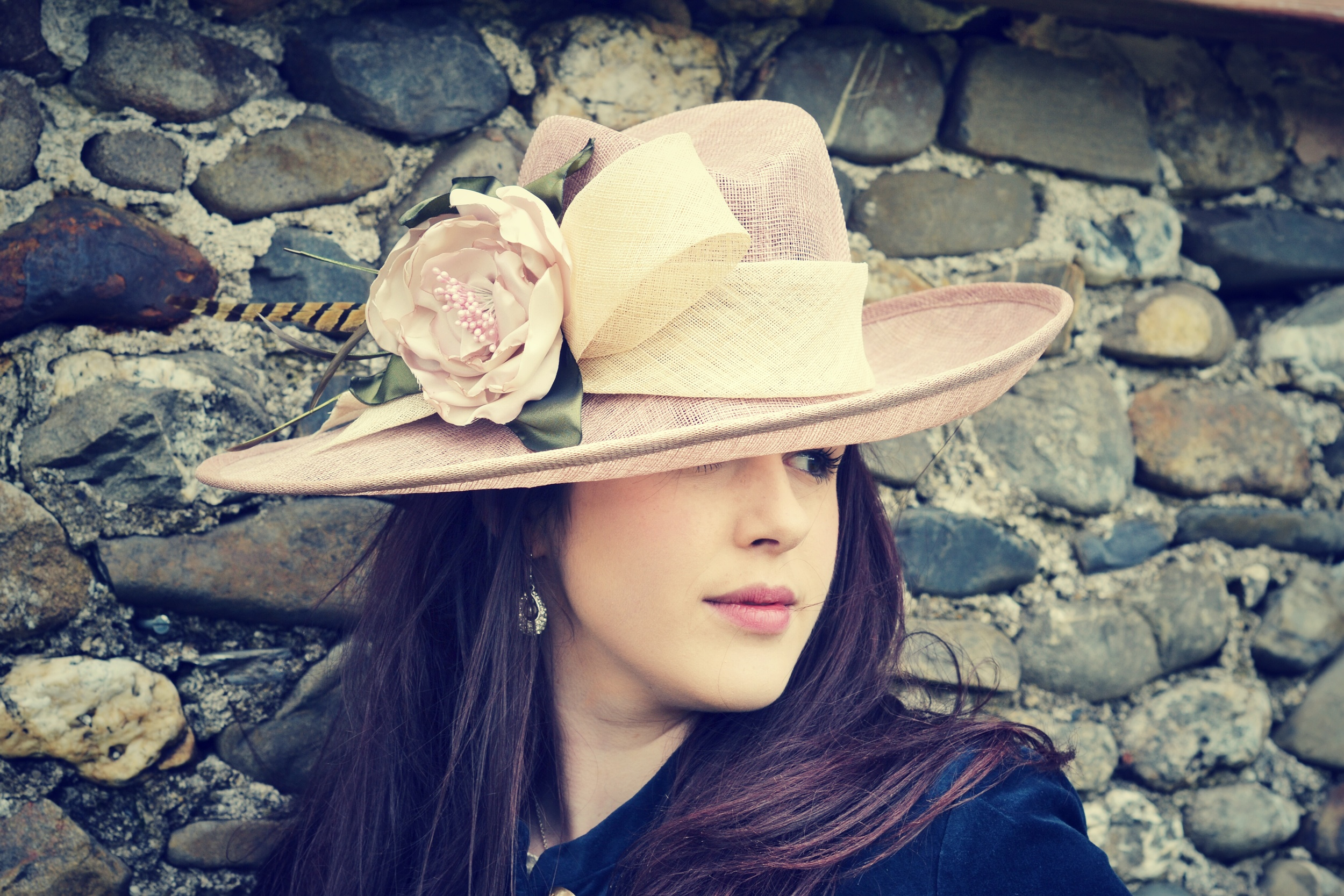 Tilted brim hat with handmade peony