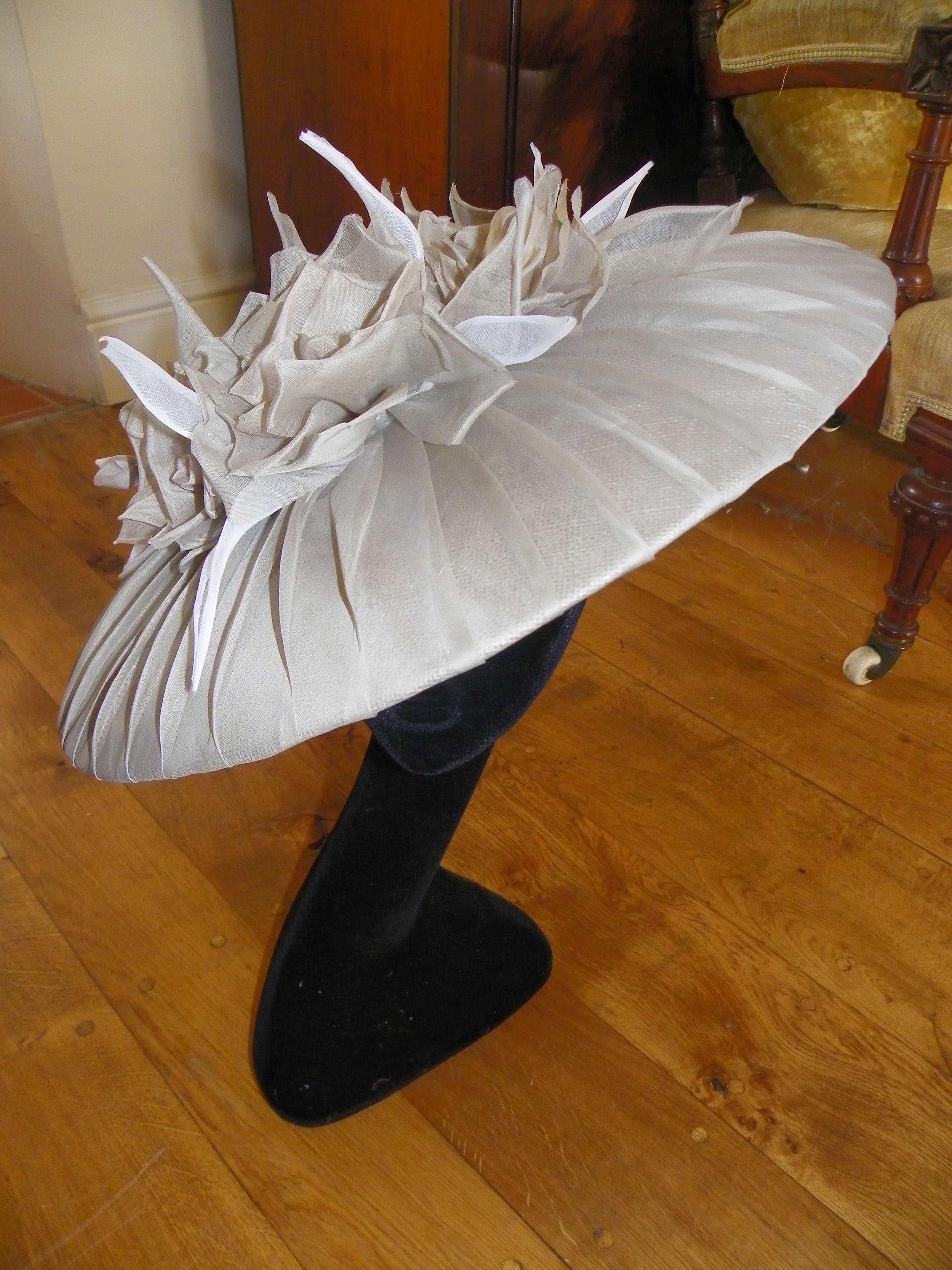 Large brim bell shape hat with pleated brim and handmade roses